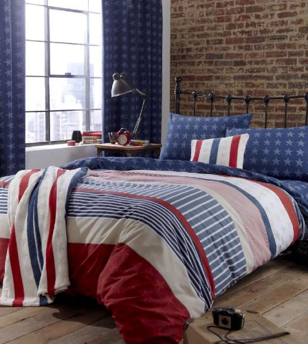 FULL AMERICAN STARS AND STRIPES UNITED STATES RED WHITE AN BLUE COTTON DUVET SET QUILT COVER (Striped Bedding Blue White And Red)