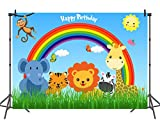 Jungle Rainbow Theme Photo Backdrop for Kids Party Decor 7x5 Happy Birthday Banner Animal Jungle Photo Booth Backdrop Wall Paper