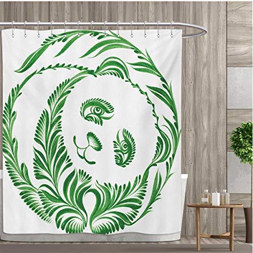 smallfly Modern Patterned Shower Curtain Ukrainian Folk Art Ceramic Tile Inspired Panda Bear Featured Foliage Illustration Shower Curtain Collection by 36