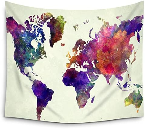 Mugod Map Tapestry Abstract Art Splatter Painting Watercolor Colorful World Wall Hanging – Polyester Fabric Wall Art Tapestries Home Decor Tapestry – 60 H x 90 W Inches