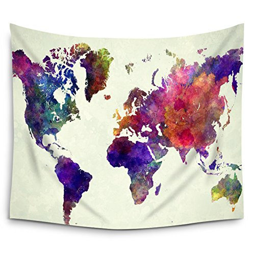 Mugod Abstract Art Splatter Painting Watercolor Colorful World Map Wall Tapestry Hanging - Polyester Fabric Wall Art Tapestries Home Decor Tapestry - 60