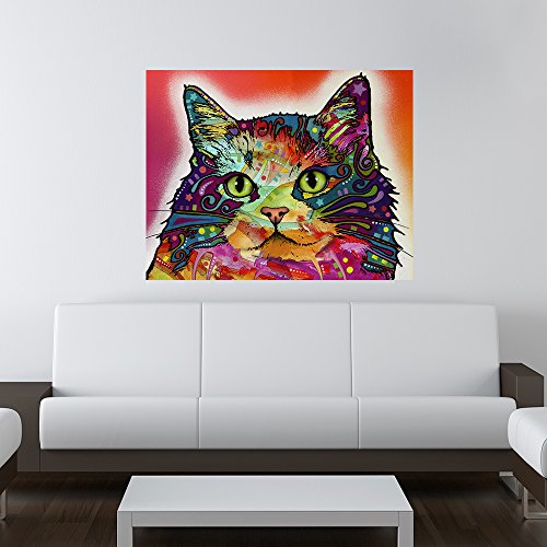My Wonderful Walls Animal Pop Art by Dean Russo Ragamuffin Cat Wall Sticker Decal, 19 by 15-Inch, Multicolored (Cats Ragamuffin)