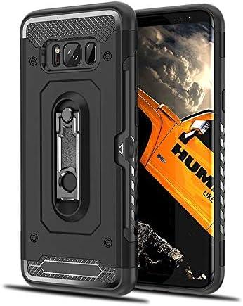 あなたの携帯電話を保護する Galaxy S8 +用ショックプルーフPC + TPUケース、ホルダー付き (色 : ブラック)