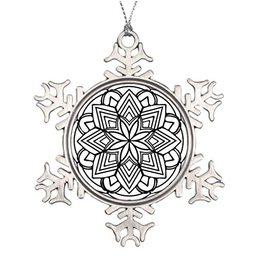 Xixitly Xmas Trees Decorated Mandala 52 star.flower Meditation Metal Christmas Snowflake Ornaments by Xixitly
