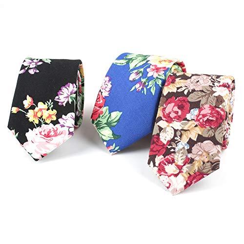 Mantieqingway Men's Cotton Printed Floral Neck Tie (Color 14)