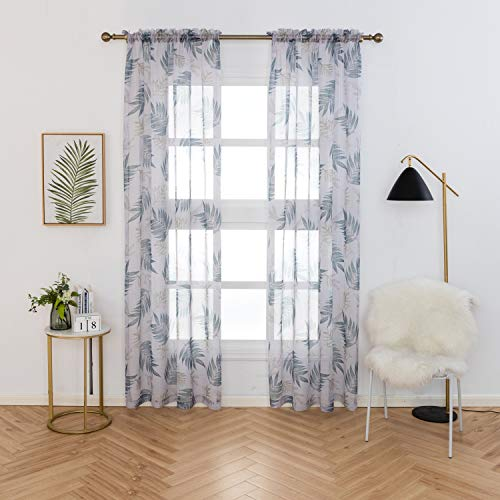 Anjee Tropical Plants Sheer Curtains, Bedroom Window Drapes Living Room White Voile Rod Pocket Curtains Sheers 84 inch, 2 Panels, 52 by 84-Inch, Green Leaf - Wash Sheer Curtains