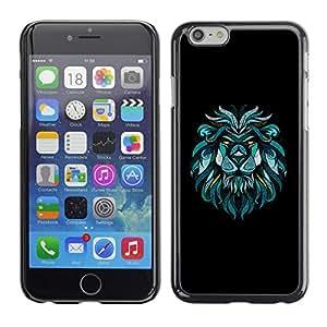 KOKO CASE / Apple Iphone 6 / arte retrato del león dibujo pintura azul / Delgado Negro Plástico caso cubierta Shell Armor Funda Case Cover