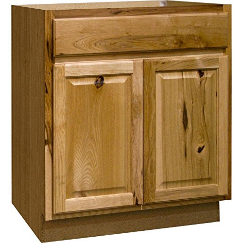 Hampton Bay Hampton Assembled 30x34.5x24 in. Sink Base Kitchen Cabinet in Natural Hickory