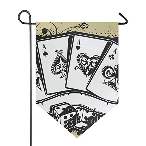 (DEZIRO Garden Flag Craps Poker King Vertical Double Sided Yard Decor Colorful Design for All Seasons & Holidays)