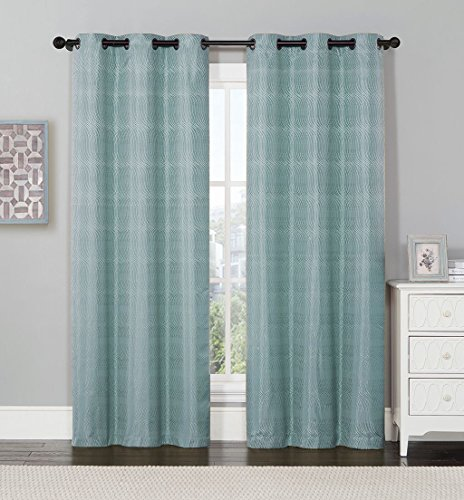 Set of 2 Panels 76″Wx84″L -Murry – Blue – Jacquard Thermal Insulated Blackout Curtain, 38-Inch by 84-Inch each Panel. Package contains set of 2 panels 84 inch long. For Sale