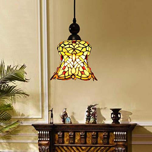 Stained Glass Vintage Tiffany Style Pendant Light Shade, 1-Light Mini Single Head Hanging Lamp Body Alloy for Hall Restaurant, ()