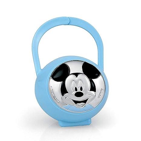 Porta Chupete Plata Ley 925M Bilaminado Disney Bebé Mickey Celeste