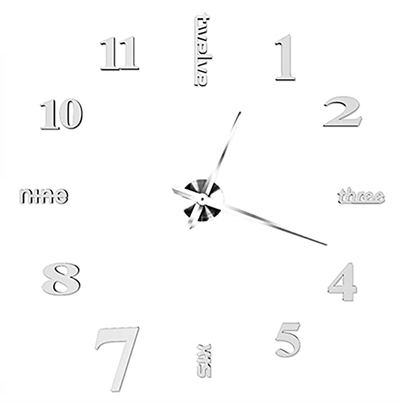 Amazon.com: Modern DIY Wall Clock Watch Decor Stickers Home Decal: Home & Kitchen