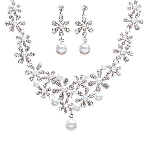omen Bridal Wedding Prom Fashion Jewelry Set Crystal Rhinestone Pearl Gorgeous Daisy Necklace SV ()