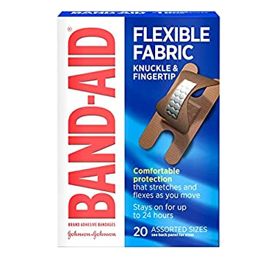 Band-Aid Brand Flexible Fabric Adhesive Bandages for Wound Care and First Aid, Finger and Knuckle, 20 ct