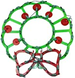 Northlight  Lighted Wreath with Bow and Red Berries Christmas Window Silhouette Decoration, 15""