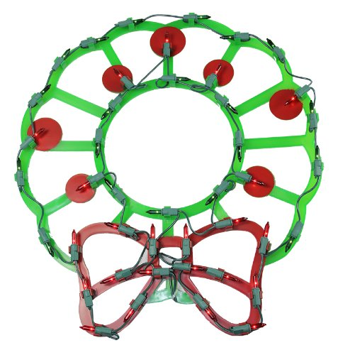Northlight  Lighted Wreath with Bow and Red Berries Christmas Window Silhouette Decoration, 15