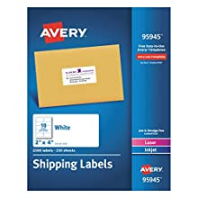 Avery Shipping Address Labels, Laser & Inkjet Printers, 2,500 Labels, 2x4 Labels, Permanent Adhesive (95945)