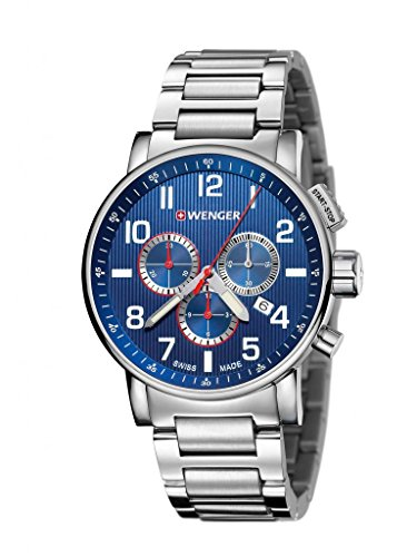 Wenger 01.0343.106 Men's Attitude Chrono Stainless Steel Case and Bracelet Blue Dial Silver Watch