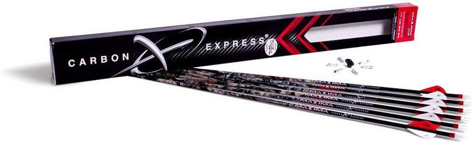 """Carbon Express Maxima Hunter 350 Arrows Factory Fletched w// 2/"""" Blazer Vanes 6 Pk"""