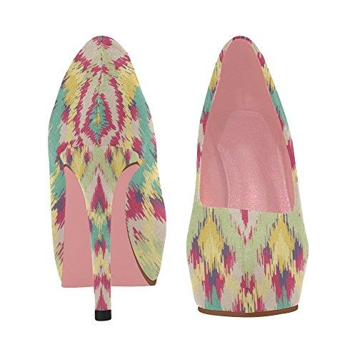 Zenzzle Femmes Coin Haut Talon Pompes Chaussures Modèle Fleurs Violet Coloré Bande Ethnique Prin Sur La Taille 5-11 Color3