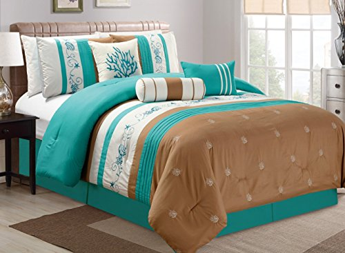 Modern 7 Piece Bedding TURQUOISE BLUE / BEIGE / BROWN Tropical Coast Seashell Beach Pinch Pleat (California) Cal King Comforter Set with accent pillows