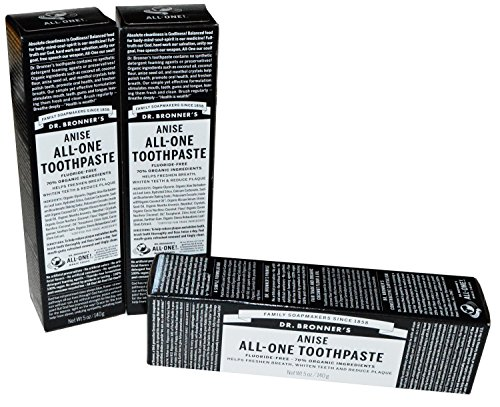 Dr Bronner's Anise All-One Toothpaste, 5 oz,  Pack of 3