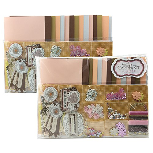 Jiulyning DIY Handmade Greeting Card Kit, Includes 30 Cards, 30 Envelopes and A Varirty of Embellishments (30-B)