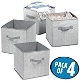 mDesign Fabric Closet Storage Organizer Cube for Clothing, Blankets, Accessories - Pack of 4, Gray