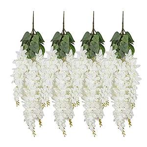 U'Artlines Wisteria Artificial 2.3 Feet/Piece Hanging Wisteria Vine Fake Flower Bush String Home Party Wedding Decoration,Pack of 6 6