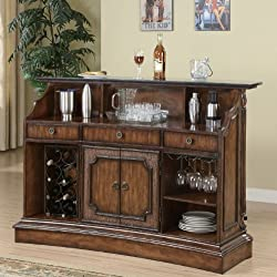 Coaster Home Furnishings Modern Traditional Real Marble Top Bar Table with Wine Bottle / Glass Storage - Warm Brown