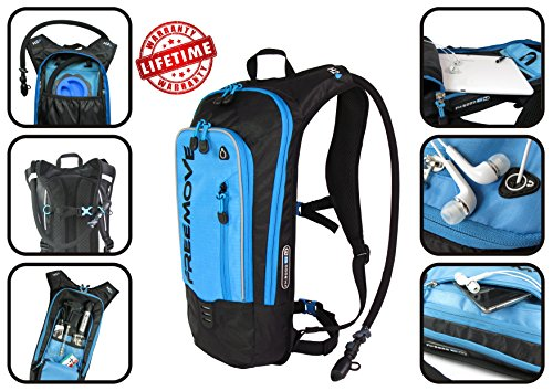 No.1 Hydration Pack Backpack with 2L Water Bladder & Cooler Bag KEEPS WATER COOL | Lightweight Comfy Leak Proof | Air Flow System | Reflective Parts | 6L Capacity | Camel Pack For Sports Enthusiast