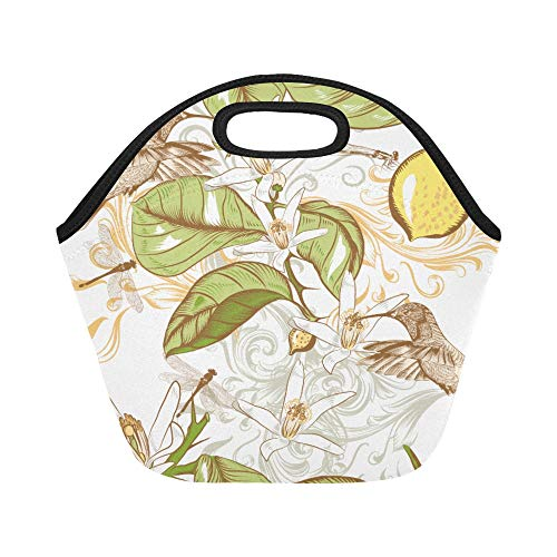 Insulated Neoprene Lunch Bag Hand Drawn Lemon Flowers And Hummingbird Pattern Large Size Reusable Thermal Thick Lunch Tote Bags For Lunch Boxes For Outdoors,work, Office, School ()