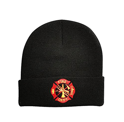 Fire Department Logo Black Knit Acrylic Stocking Cap Beanie (Embroidery Dept Fire)