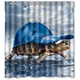 66 quot;(Width) x 72 quot;(Height) Art Turtle Wear Cap In The Rain Bathroom 100% Polyester Shower Cu