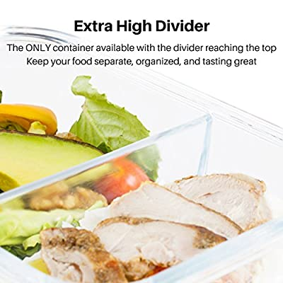 IdealPrep - Glass Food Container with Glass Divider