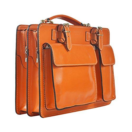 Borsa da Donna CTM in in Portadocumenti Uomo lavoro 35x25x12 Arancione made vera pelle Organizer Cm D7006 Italy SnwUHw