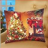 LIGHTED CHRISTMAS TREE FIREPLACE THROW PILLOW CUSHION