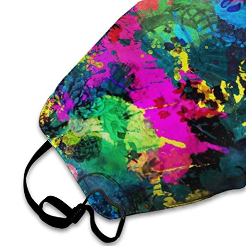 Mouth Mask For Daily Dress Up, Paint Splatter Anti-dust Mouth-Muffle, Washable Reusable Holiday Half Face Masks For Mens And Womens With Adjustable Earloop