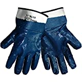 Global Glove 617R Fully Nitrile Dipped on 2 Piece Jersey Liner Glove with Safety Cuff, Chemical Resistent, Extra Large, Rough, Light Blue (Case of 72)