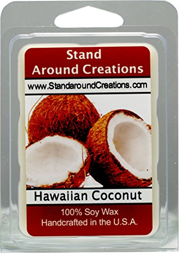 100% All Natural Soy Wax Melt Tart - Hawaiian Coconut - Sugary notes of sweet coconut oil. A tropical fragrance that says aloha to warmer weather. 3 oz. Made w/essential oil.