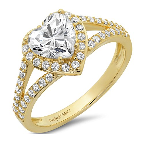 Clara Pucci 1.65 CT Heart Cut Pave Solitaire Bridal Engagement Wedding Band Ring 14k Yellow Gold, Size (Solitaire Wedding Pave Ring)