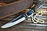 Cheap Now on Sale – Handmade Hunting Knife – 440c Steel – Tanto Blade & Ram's Horn Handle