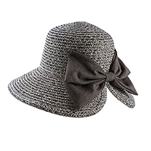 f4502a7d5a7 Amazon.com  Aerusi Women s Most Haley Bow Bucket Year Round Straw ...