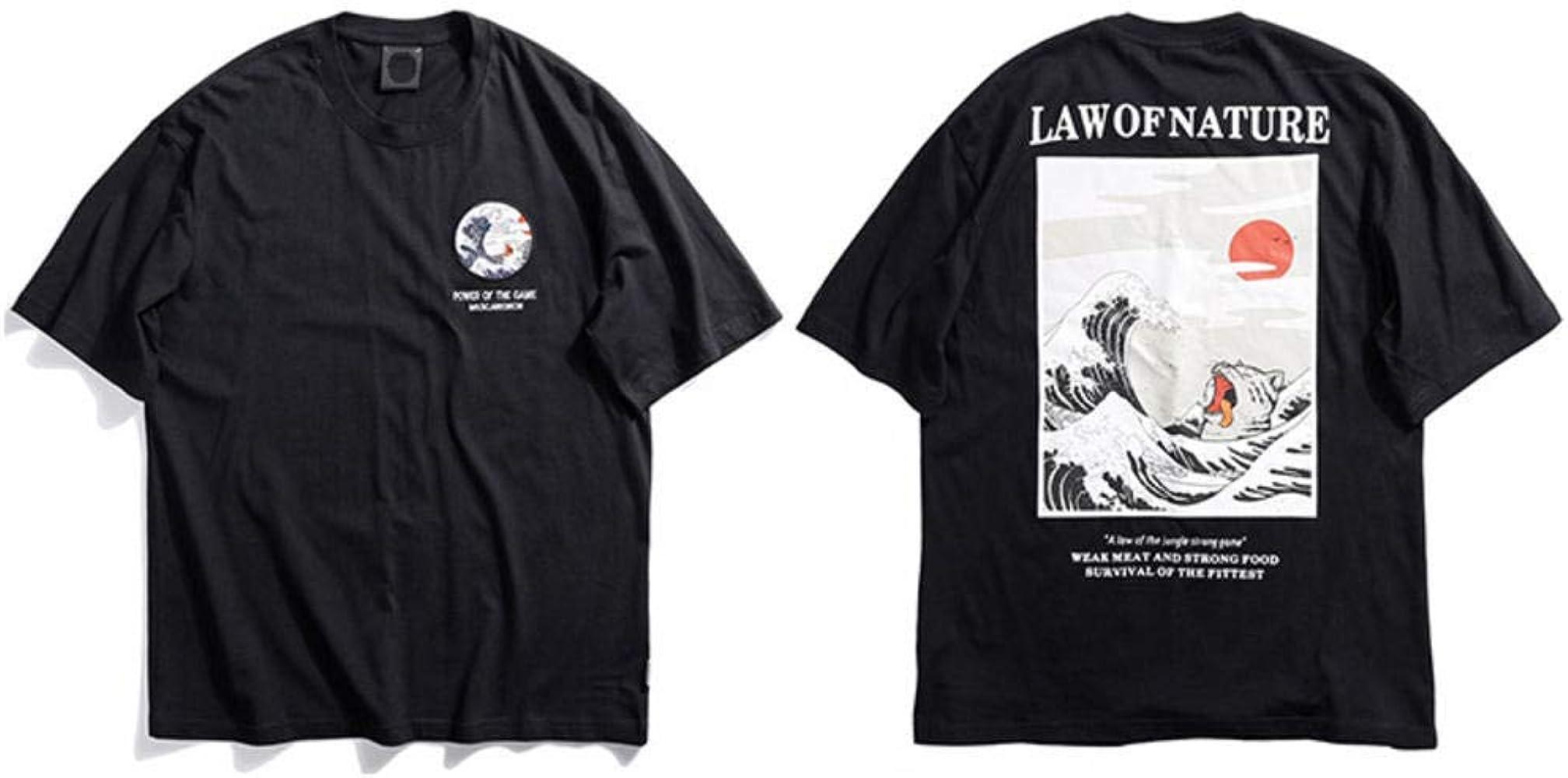 Camiseta para Hombre Hip Hop Camisetas Divertidas para Gatos Harajuku Camiseta Japonesa Streetwear Bordado Verano Algodón Tops Camisetas Manga Corta: Amazon.es: Ropa y accesorios