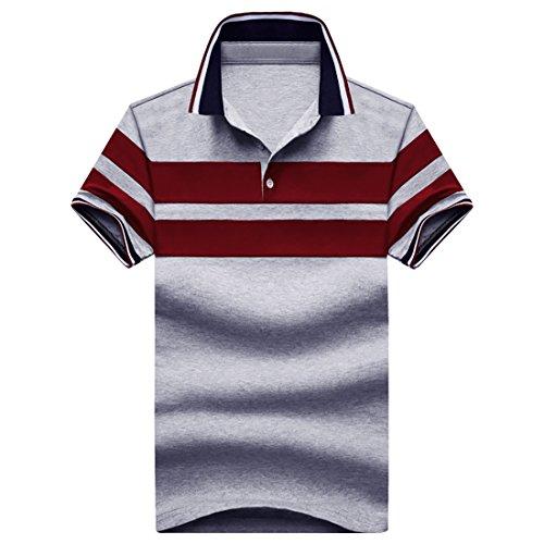 Nantersan Mens Polo Shirt Casual Cotton Short Sleeve Stripe Slim Polo Shirts