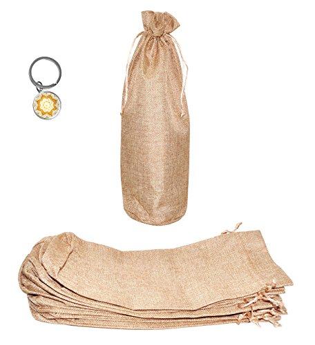 Mandala Crafts 12 Reusable Tall Plain Jute Drawstring Burlap Gift Packaging Wine Bags for Weddings Favors Holidays Parties (6x14 Inches, Elegant (Jute Drawstring)