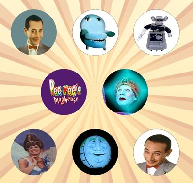 Peewee's Playhouse Set of 8 - 1 Inch Pinback Buttons]()