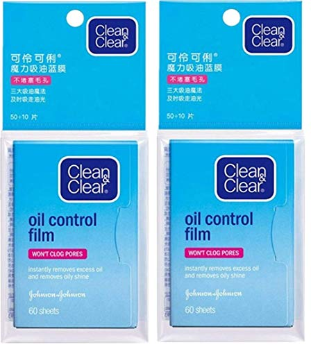 Oil Control Film Blotting Paper Clean & Clear Oil-absorbing Sheets, 60 Sheets (Pack of 2) (Sheets Clear Oil Absorbing)