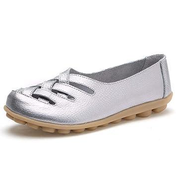 Mujer Zapatos Planos Cuero Cross Hueco Soft Único Ligero Mocasines Talón Bajo Plateado Ronda Toe Slip
